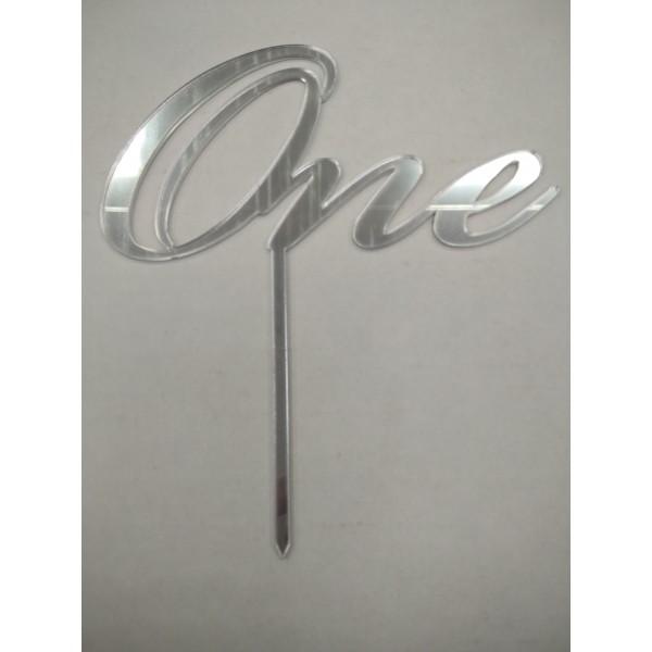 "Акрил Топпер в торт ""One"" №2 (серебро зерк.)"