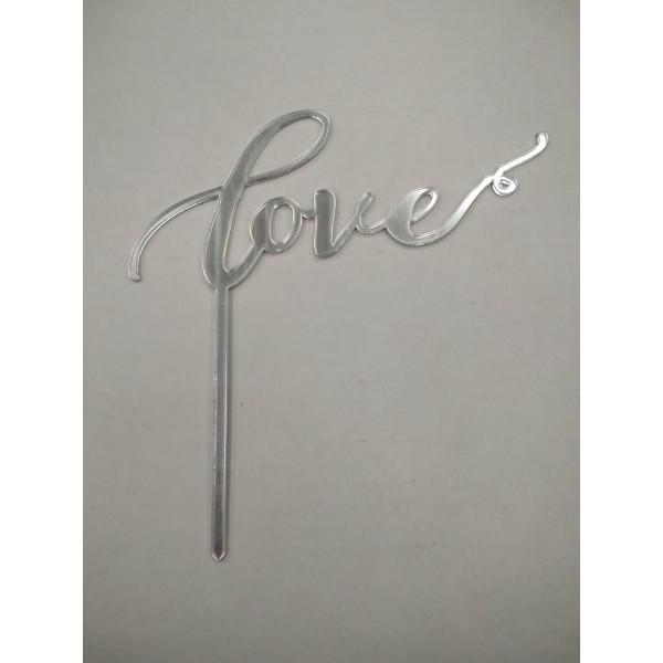 "Акрил Топпер в торт ""Love"" №2 (серебро зерк.)"