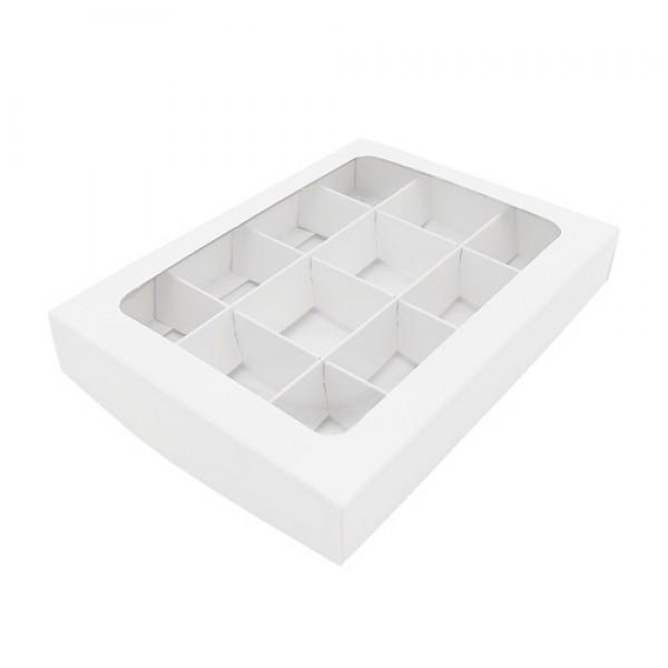 Коробка для 12 конфет (белая) 195*145*30 мм с вклеенным окном