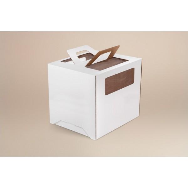 Коробка для торта (белый картон) 220*220*240 мм (3 окна, быстросборная)