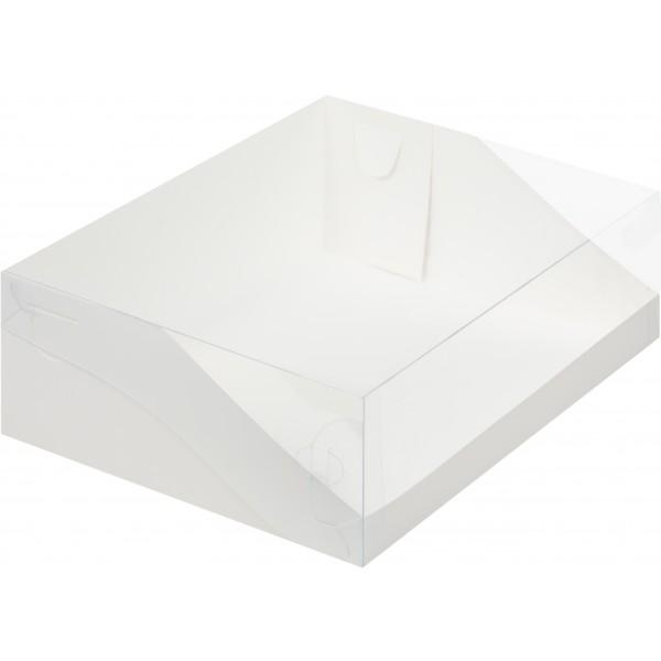 Коробка для торта с прозрачной пластиковой крышкой (белая) 310*235*100 мм