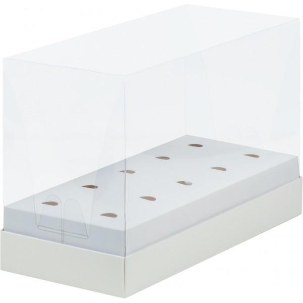 Коробка для кейк-попсов ПРЕМИУМ с прозрачной пластиковой крышкой (белая) 240*110*160 мм