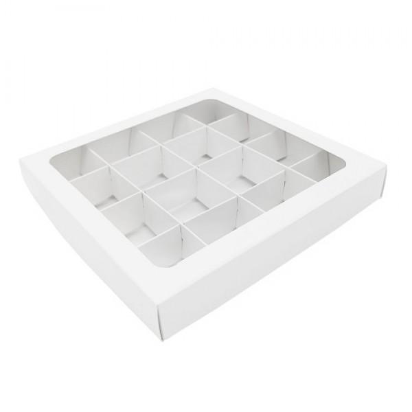 Коробка для 16 конфет (белая) 200*200*30 мм с вклеенным окном