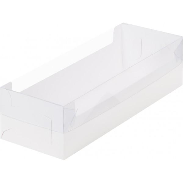 Коробка для рулета с прозрачной пластиковой крышкой (белая) 300*110*80 мм