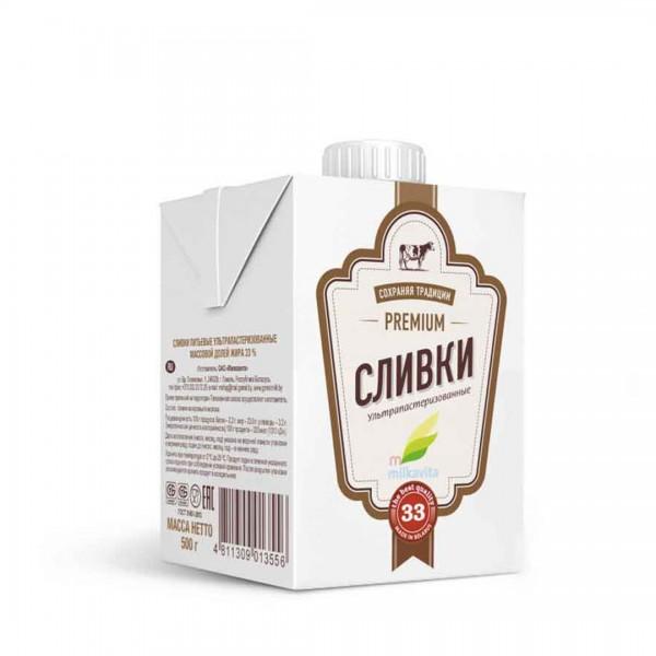 Сливки Milkavita 33% 0,5 л., Беларусь
