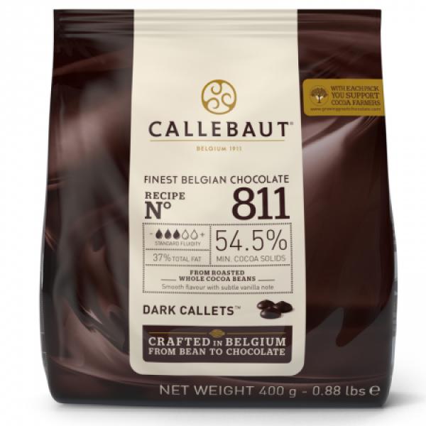 Темный шоколад 54,5% в каллетах, пакет 400 гр. Callebaut Бельгия