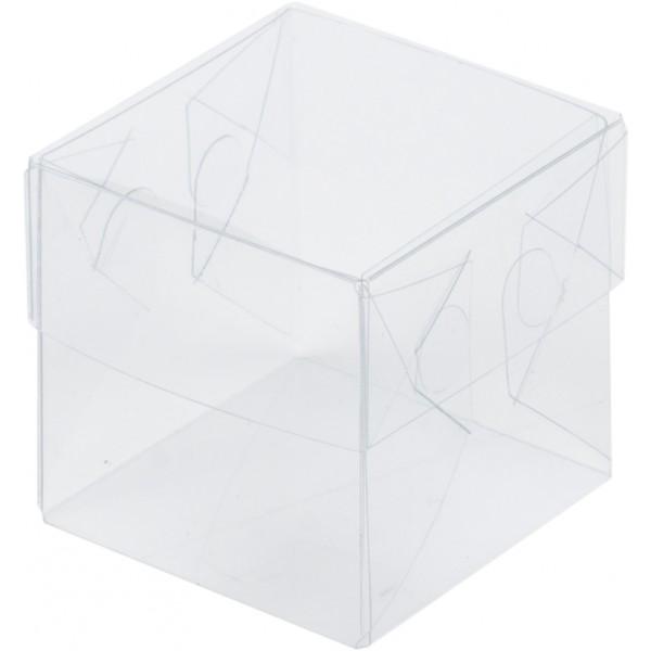 Коробка для макарон с пластиковой крышкой и пластиковым дном 55*55*55 мм.