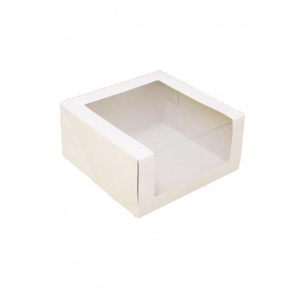 Коробка для торта (белый картон) 180*180*100 мм (с окном)