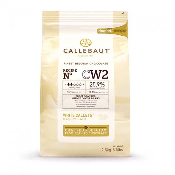 Белый шоколад 25,9% CW2 в каллетах, 2,5 кг, Callebaut Бельгия