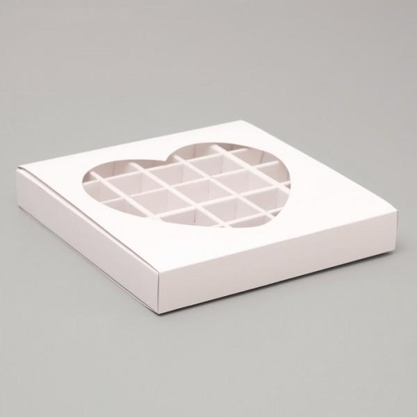 """Коробка для 25 конфет """"Сердце"""" (Белая)"""