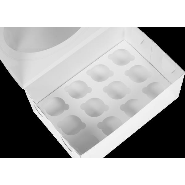 Коробка для 12 МИНИ-капкейков с окном (белая) 235*160*100 мм