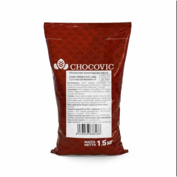 Chocovic Молочная шоколадная масса 33% в дисках, 1,5 кг, Россия