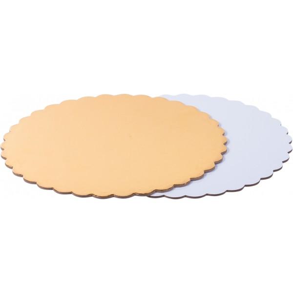Подложка для торта круглая ФИГУРНАЯ Золото/Белая (3,2 мм) 300 мм