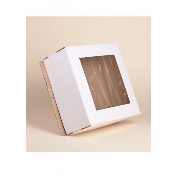 Коробка для торта (белый картон) 220*220*130 мм (с окном)