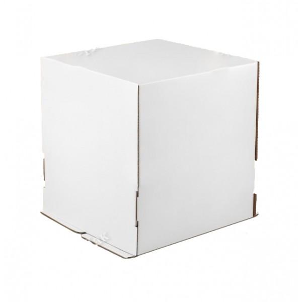 Коробка для торта (белый картон) 260*260*280 мм (без окна)