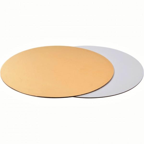 Подложка для торта круглая Золото/Белая (3,2 мм) 230 мм