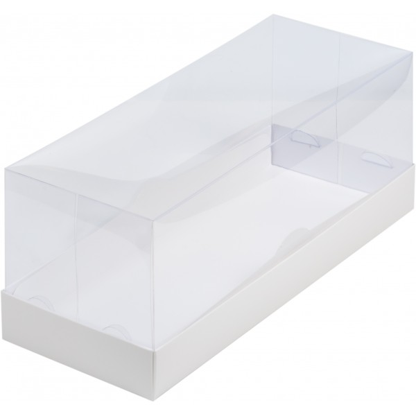 Коробка для рулета ПРЕМИУМ с прозрачной пластиковой крышкой (белая) 300*120*120 мм