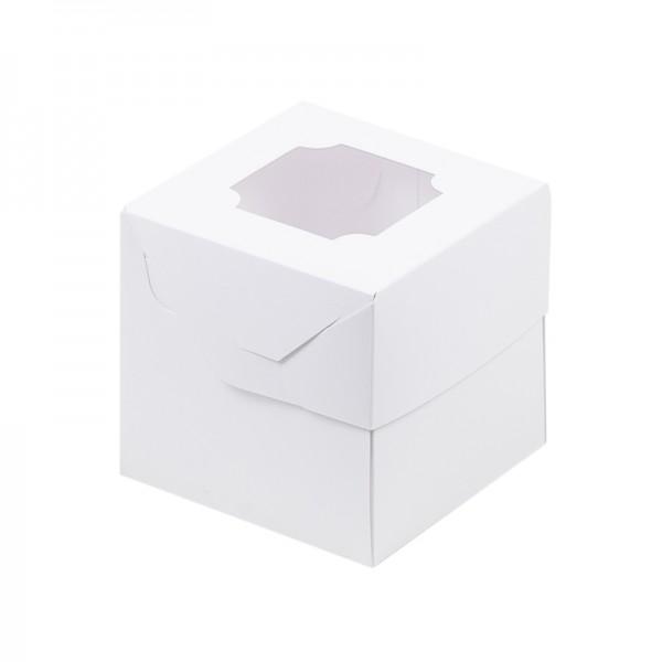 Коробка для 1 капкейка с окном (белая) 100*100*100 мм