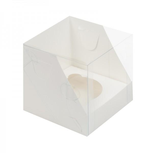 Коробка для 1 капкейка с пластиковой крышкой (белая) 100*100*100 мм