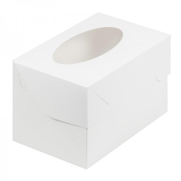 Коробка для 2 капкейков с окном (белая, с овальным окном) 160*100*100 мм