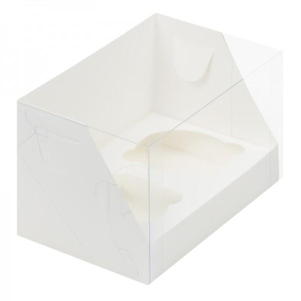 Коробка для 2 капкейков с пластиковой крышкой (белая) 160*100*100 мм