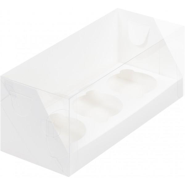 Коробка для 3 капкейков с пластиковой крышкой (белая) 240*100*100 мм