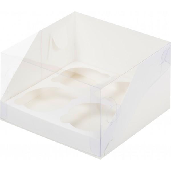 Коробка для 4 капкейков с пластиковой крышкой (белая) 160*160*100 мм