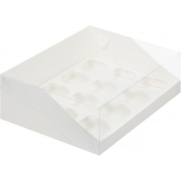 Коробка для 12 капкейков с пластиковой крышкой (белая) 310*235*100 мм