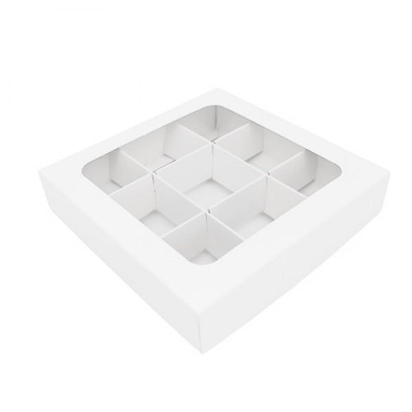 Коробка для 9 конфет (белая) 145*145*30 мм с вклеенным окном