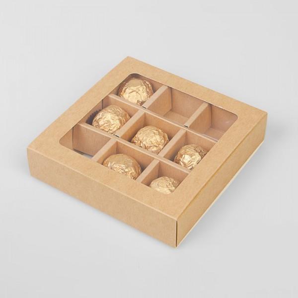 Коробка для 9 конфет (Крафт)