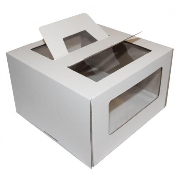 Коробка для торта (белый картон) 260*260*200 мм (3 окна, быстросборная)