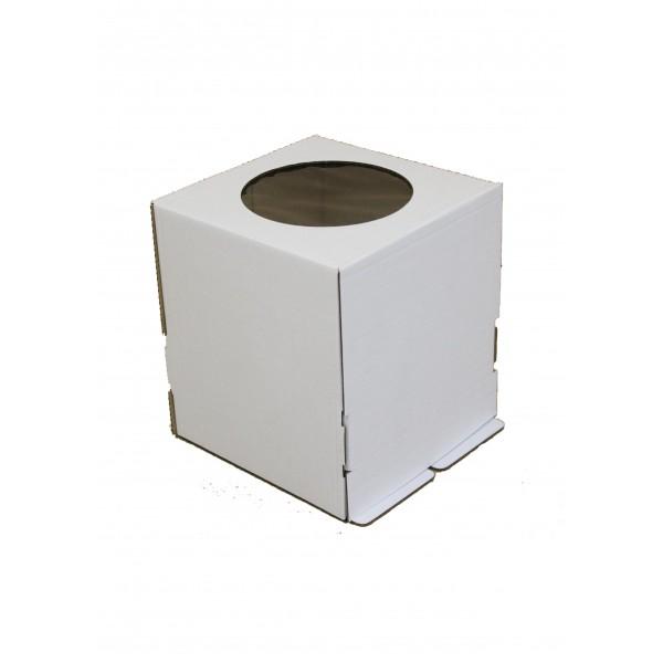 Коробка для торта (белый картон) 220*220*250 мм (с окном)