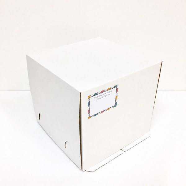 Коробка для торта (белый картон) 240*240*220 мм