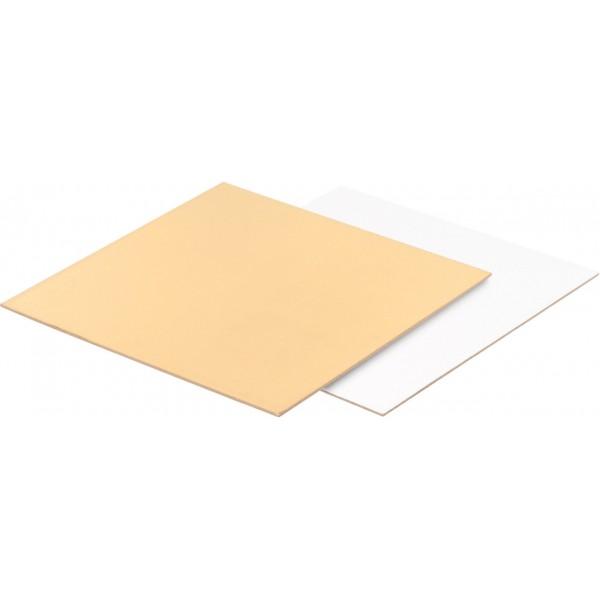 Подложка для торта квадратная Золото/Белая (3,2 мм) 240*240 мм