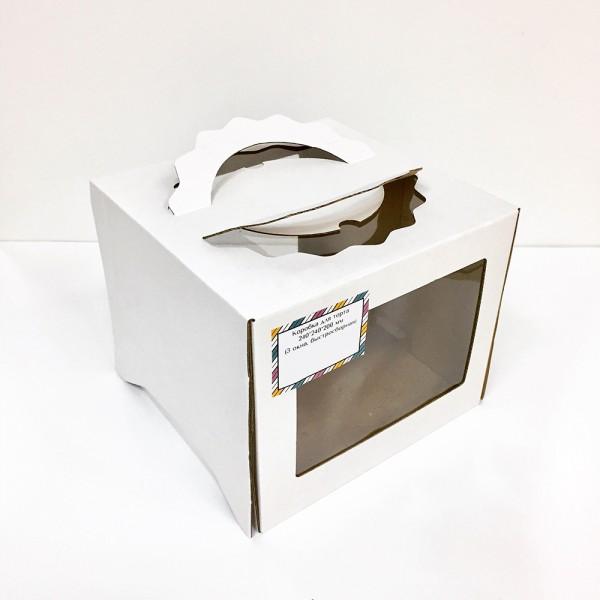Коробка для торта (белый картон) 240*240*200 мм (3 окна, быстросборная)